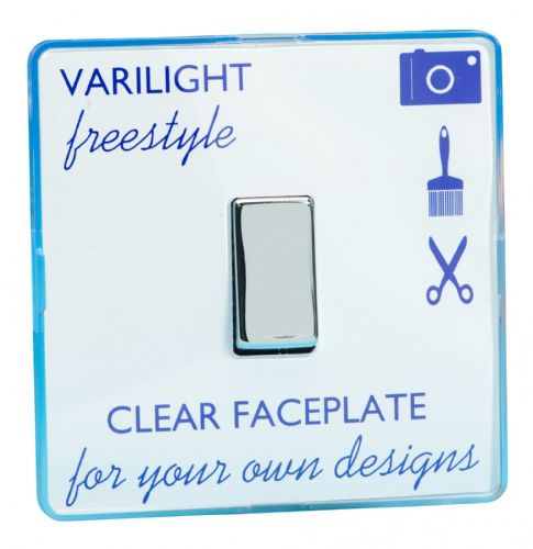 Varilight XIF1C Freestyle Clear 1 Gang 10A 1 or 2 Way Rocker Light Switch
